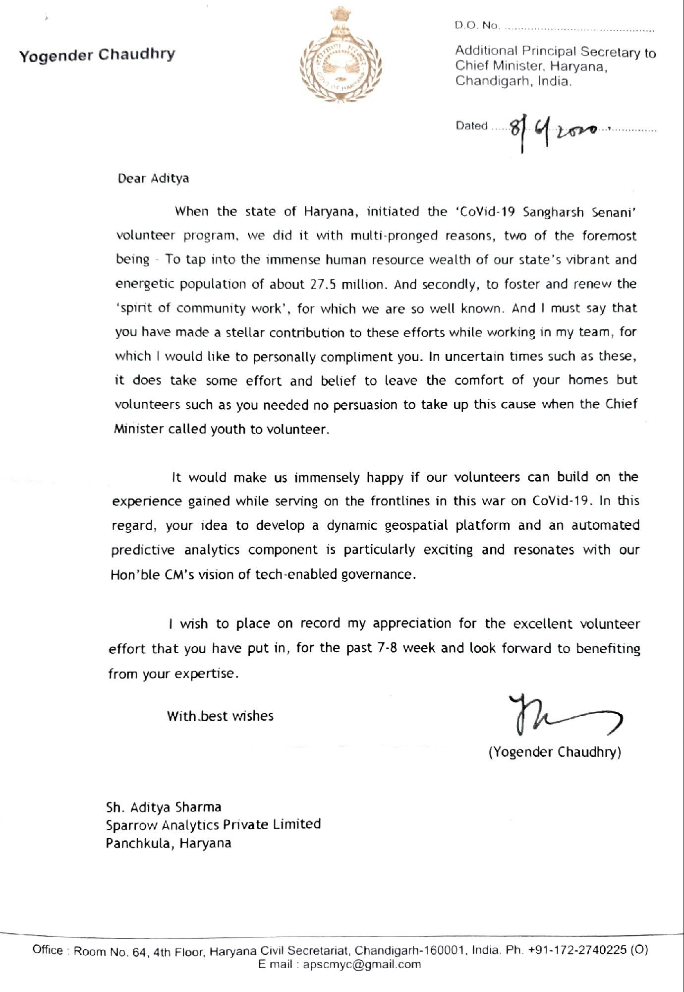 Commendation Letter from Addl. Principal Secretary to Chief Minister, Haryana
